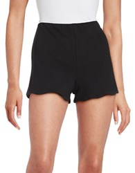 Design Lab Lord And Taylor Scalloped Knit Shorts Black