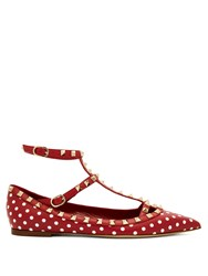 Valentino Rockstud T Bar Leather Flats Red White