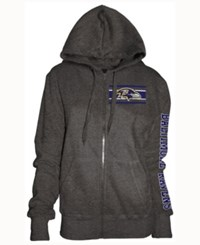 5Th And Ocean Women's Baltimore Ravens Backfield Le Hoodie Charcoal