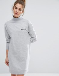 Daisy Street Oversized Sweat Dress With High Neck And Embroidery White