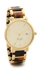 Kate Spade Gramercy Grand Chronograph Watch Two Tone Tortoise