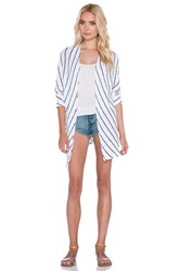 Velvet By Graham And Spencer Calera Cotton Crochet Stripe Cardigan White