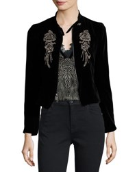 Nanette Lepore Embellished Structured Velvet Jacket Black