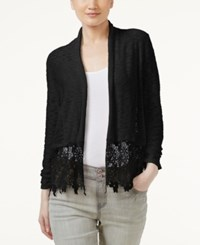 Inc International Concepts Lace Trim Cardigan Only At Macy's Deep Black