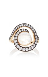 Noor Fares Planet Spiral Ring In Yellow Gold With Rainbow Moonstone And Diamonds White