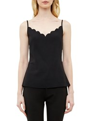 Ted Baker Sina Scalloped Neckline Cami Top Black