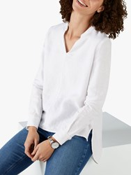 Pure Collection Linen V Neck Overshirt White