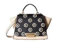 Zac Posen Eartha Iconic Floral Applique Soft Top Handle Black 2