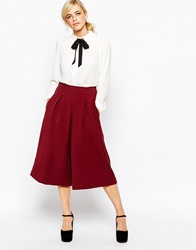 Dahlia Wide Leg Culottes With Tuck Pleat Detail Wine