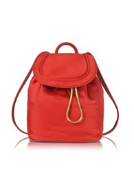 Diane Von Furstenberg Satin Backpack W Drawstring Flap Closure Rust
