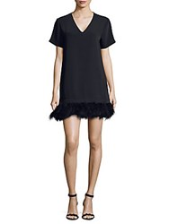 Lea And Viola Feather Trimmed Dress Black