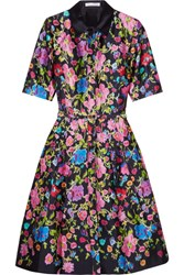 Oscar De La Renta Floral Print Silk And Cotton Blend Satin Dress Navy