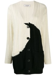Valentino Two Tone Knitted Cardigan White