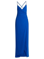 Versace Crystal Embellished Ruched Silk Gown Blue