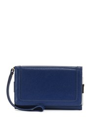 Neiman Marcus Leather Flap Phone Wristlet Peacock
