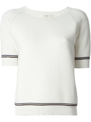 Vanessa Bruno Athe Ribbed Knit Top White