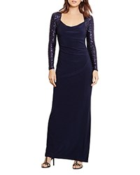 Ralph Lauren Sequin Sleeves Gown Lighthouse Navy Navy Shine