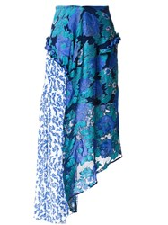 Preen By Thornton Bregazzi Printed Flower Skirt Blue
