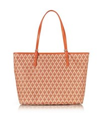 Lancaster Paris Ikon Coated Canvas And Leather Large Tote Bag Orange