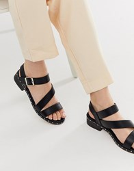 Truffle Collection Asymmetric Mid Heel Sandals Black