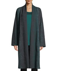Eileen Fisher Oxidized Boiled Wool Long Kimono Coat W Side Slits Plus Size Pine