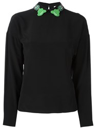 Olympia Le Tan Embellished Collar Blouse Black
