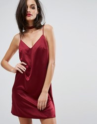 Lipsy Satin Cami Slip Dress With Choker Detail Cranberry Red