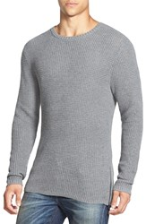 The Rail Waffle Knit Crewneck Sweater With Side Zips Medium Grey Heather