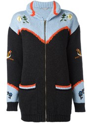 Stella Mccartney Embroidered Nature Chunky Cardigan Women Cotton Virgin Wool 36 Black
