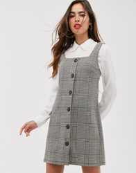 Mango Dogtooth Button Front Square Neck Dress In Multi Grey