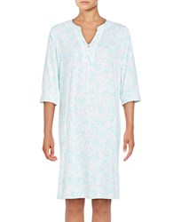 Miss Elaine Floral Print Three Quarter Sleeve Nightgown White