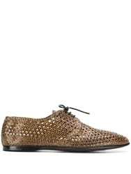 Dolce And Gabbana Woven Derby Shoes Brown