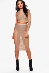 Boohoo Cut Out Mesh Crop And Midi Skirt Sand
