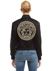 Versace Lurex Medusa Embroidered Satin Jacket Black