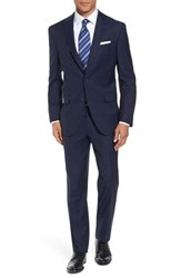 David Donahue Men's Big And Tall Ryan Classic Fit Plaid Wool Suit Navy