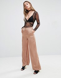 Glamorous High Waist Wide Leg Trousers In Luxe Fabric Copper