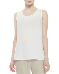 Caroline Rose Long Crinkled Linen Tank White