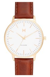 Mvmt Women's Boulevard Leather Strap Watch 38Mm Brown White Gold