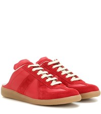 Maison Martin Margiela Backless Leather And Suede Sneakers Red