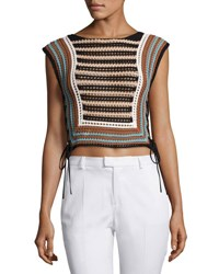 Red Valentino Mixed Knit Striped Sweater Vest Multi Multi Pattern