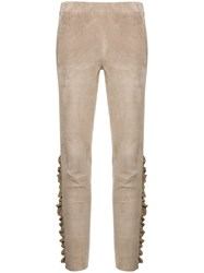 Arma Ruffle Trim Suede Leggings Nude And Neutrals