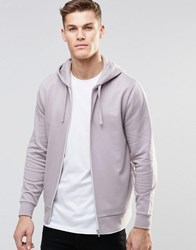 Asos Zip Up Hoodie In Light Purple Pale Lilac