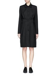 Lanvin Tuck Pleat Waist Cape Back Wool Coat Black