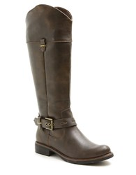 Kensie Stefanie Faux Leather Riding Boots Antique Black
