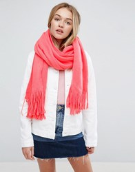 Asos Long Tassel Scarf In Supersoft Knit In Coral Pink