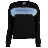 By Sun Black Sweatshirt With Blue Faux Fur Embellishment