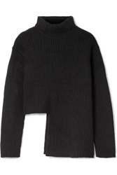 Ellery Vallauris Asymmetric Merino Wool Blend Turtleneck Sweater Black