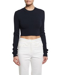 Derek Lam Long Sleeve Cropped Crewneck Sweater Navy Size L