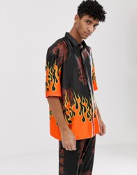 Jaded London Festival Co Ord Shirt In Black With Flame Print