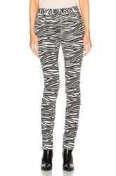 Saint Laurent Skinny 5 Pocket Medium Waist Jeans In Black White Animal Print Black White Animal Print